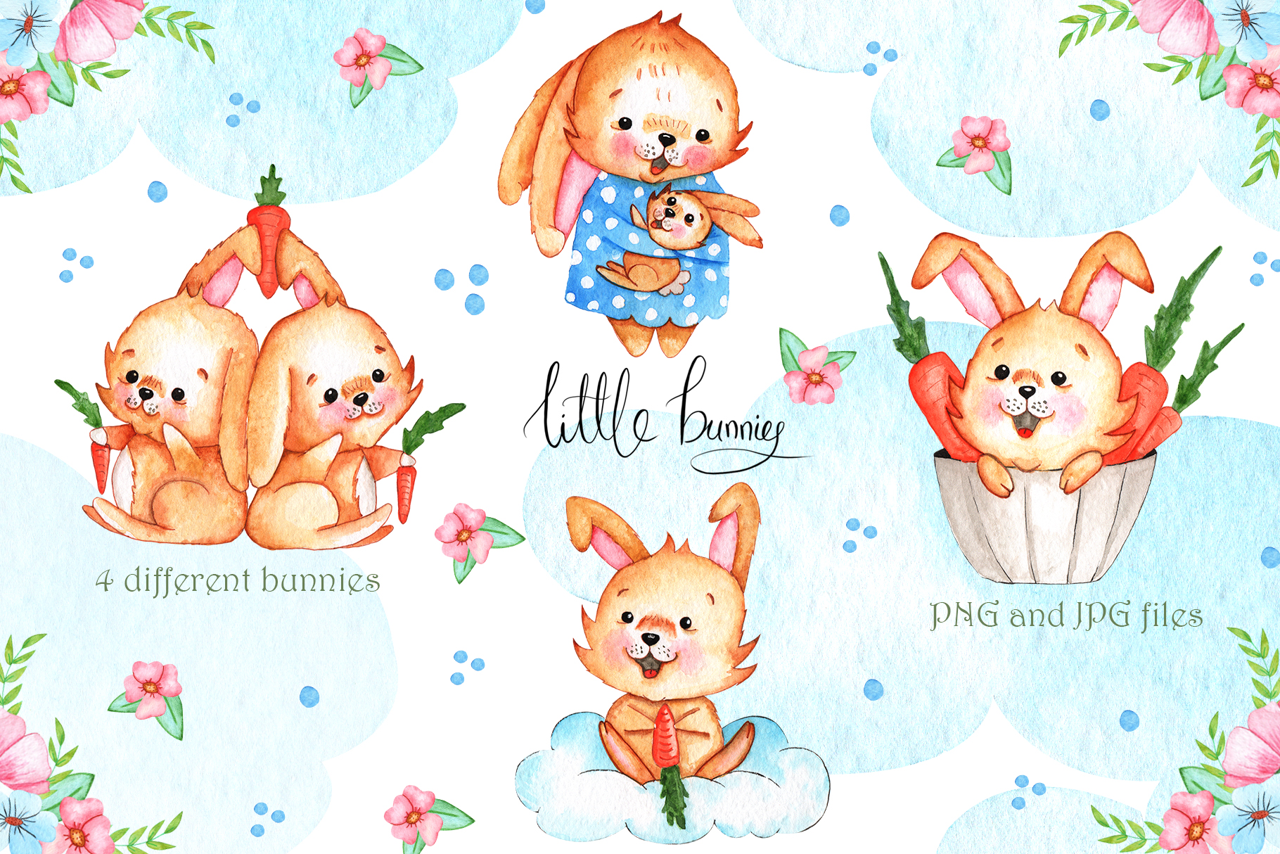 Watercolor Little Bunnies Illustrations example image 2