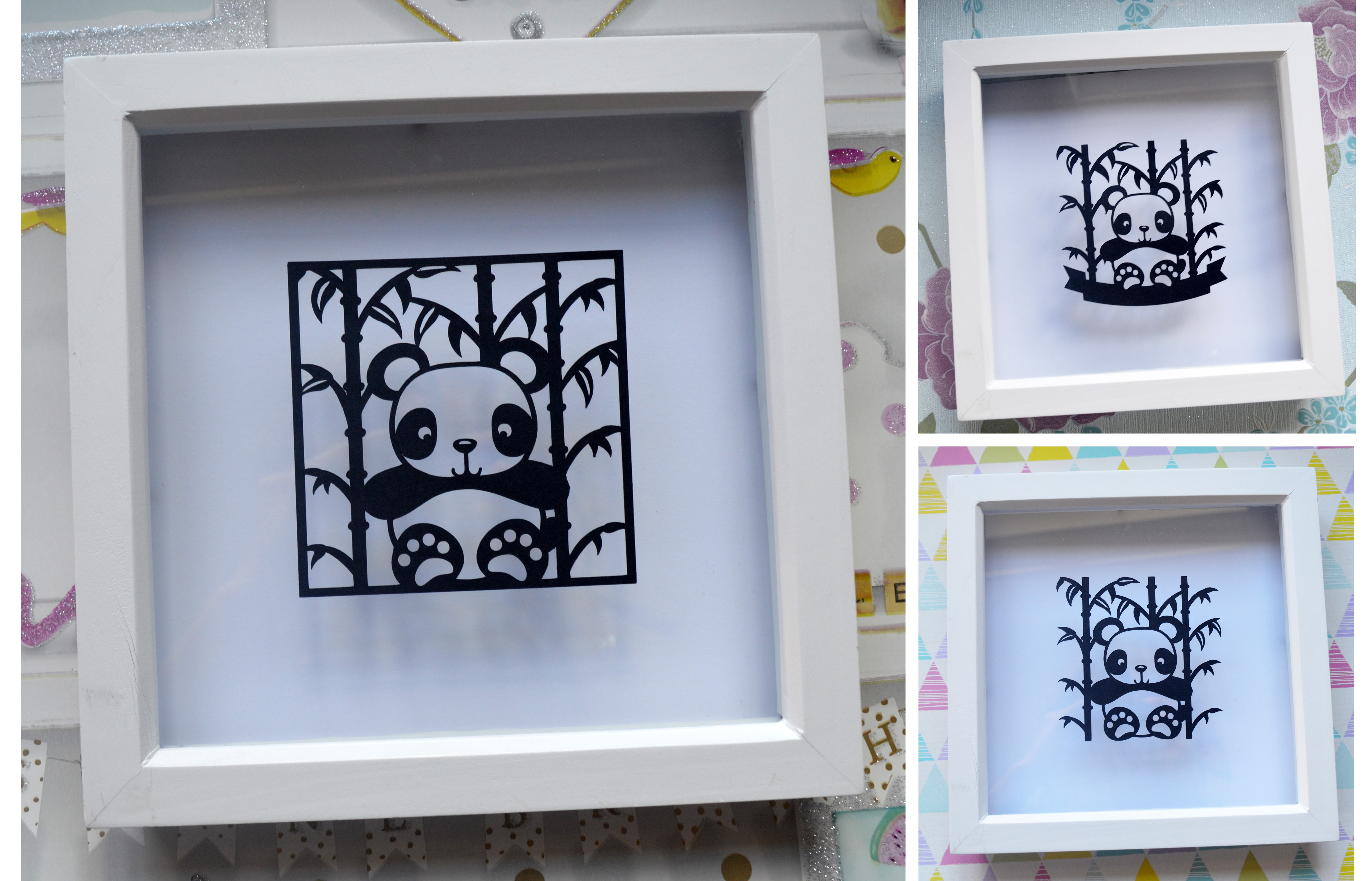 3 Panda Paper Cut SVG / DXF / EPS Files example image 1