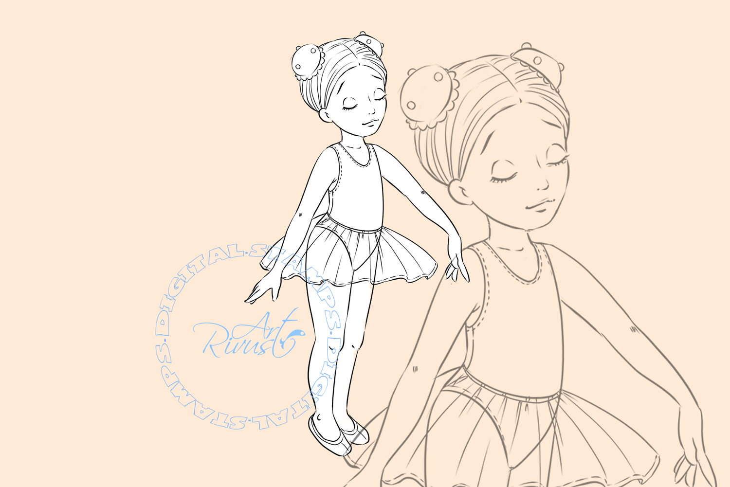 Ballet Digital Stamp. Cute ballerina coloring page Download. example image 1