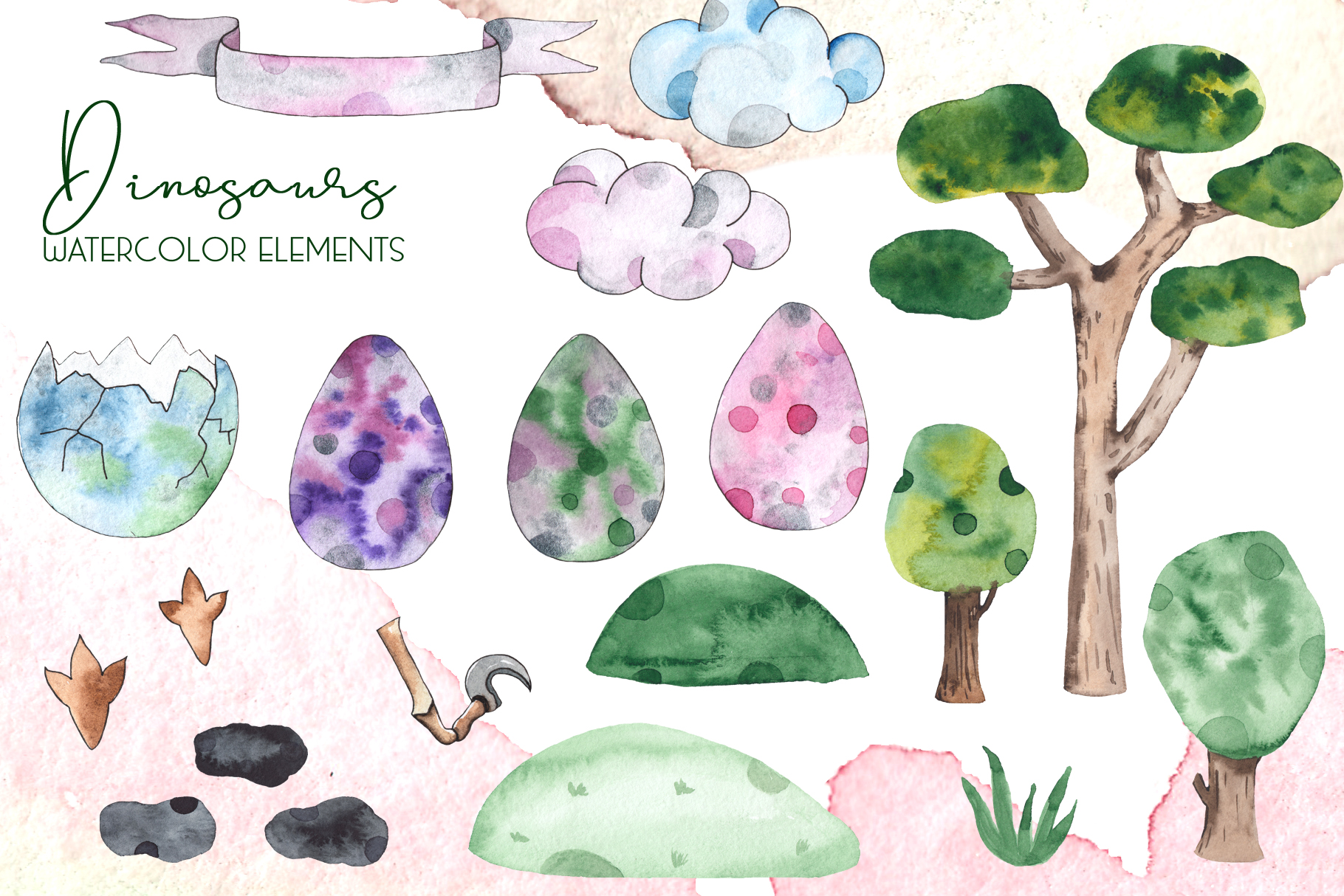 Dinosaurs. Watercolor clipart example image 16