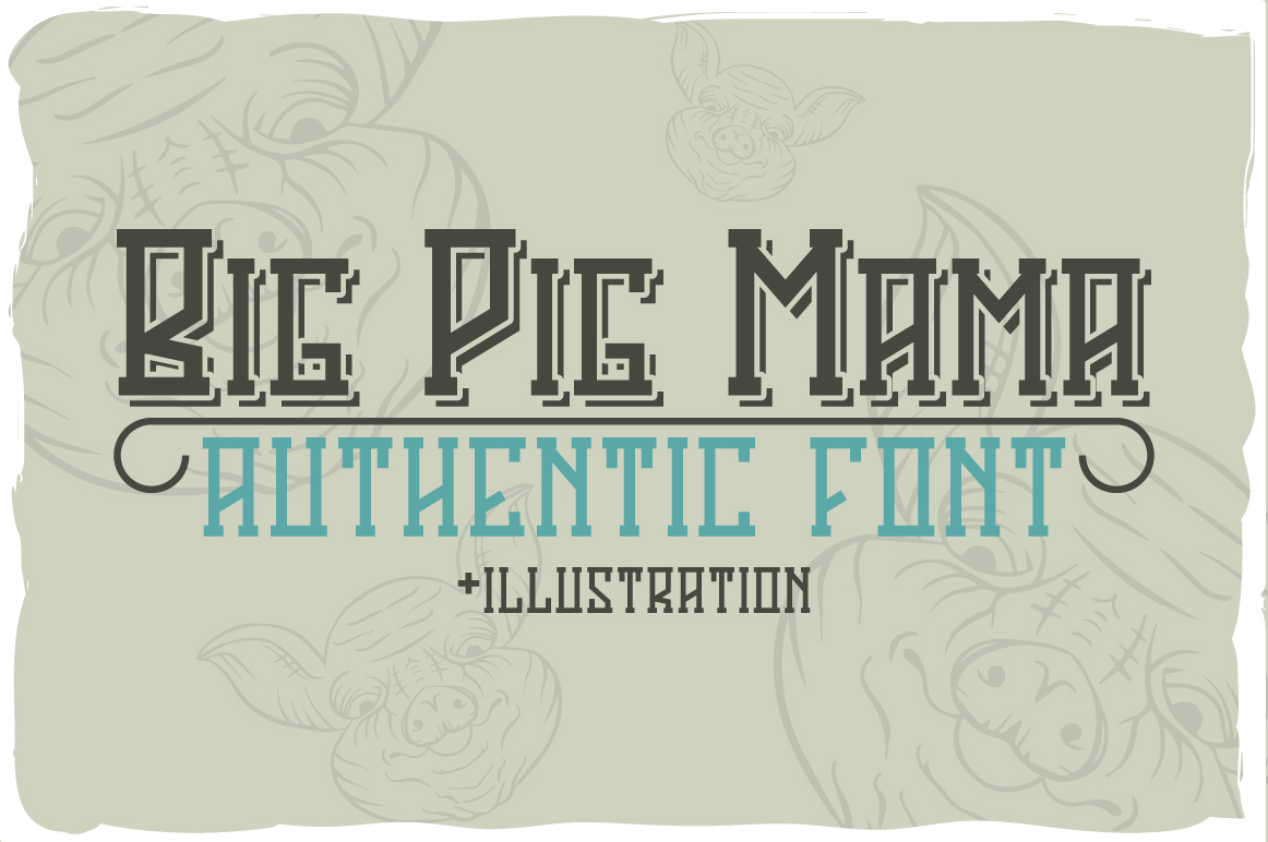 Big Pig Mama typeface illustration example image 1