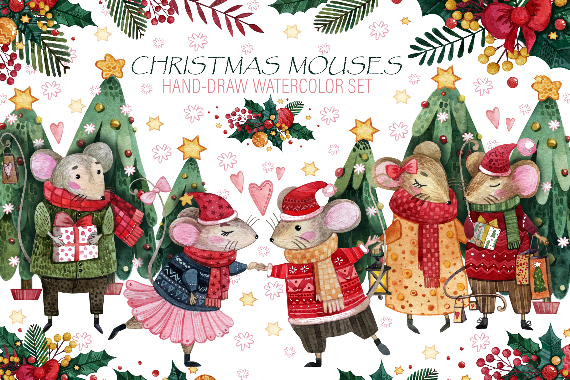Christmas mouses watercolor collection example image 1