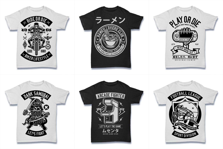 100  Vector Tshirt Designs ( B/W Concept ) example image 5