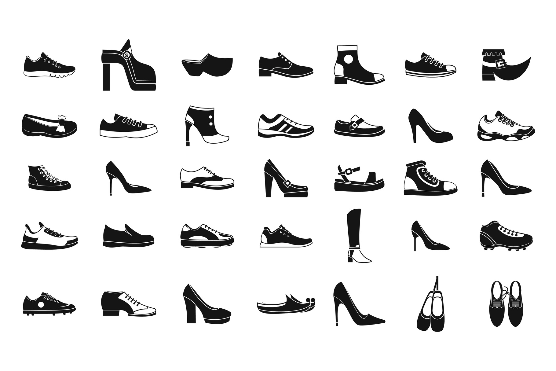 Shoes icon set, simple style example image 1