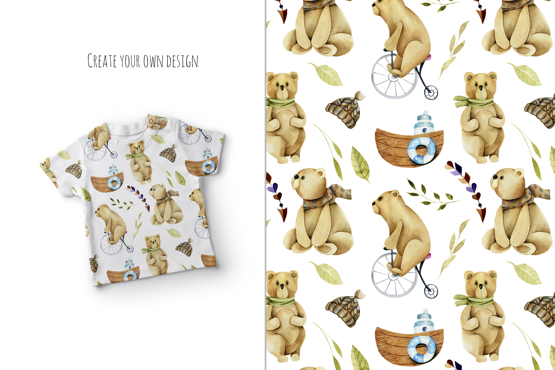 My dear Bears. Watercolor clipart. example image 8