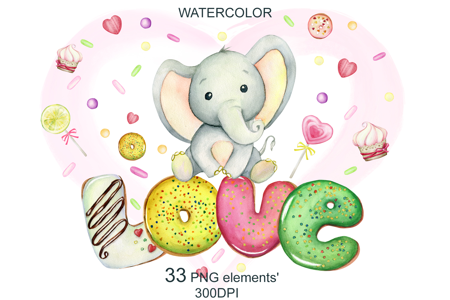 watercolor Cute little elephants, for Valentine's Day example image 1