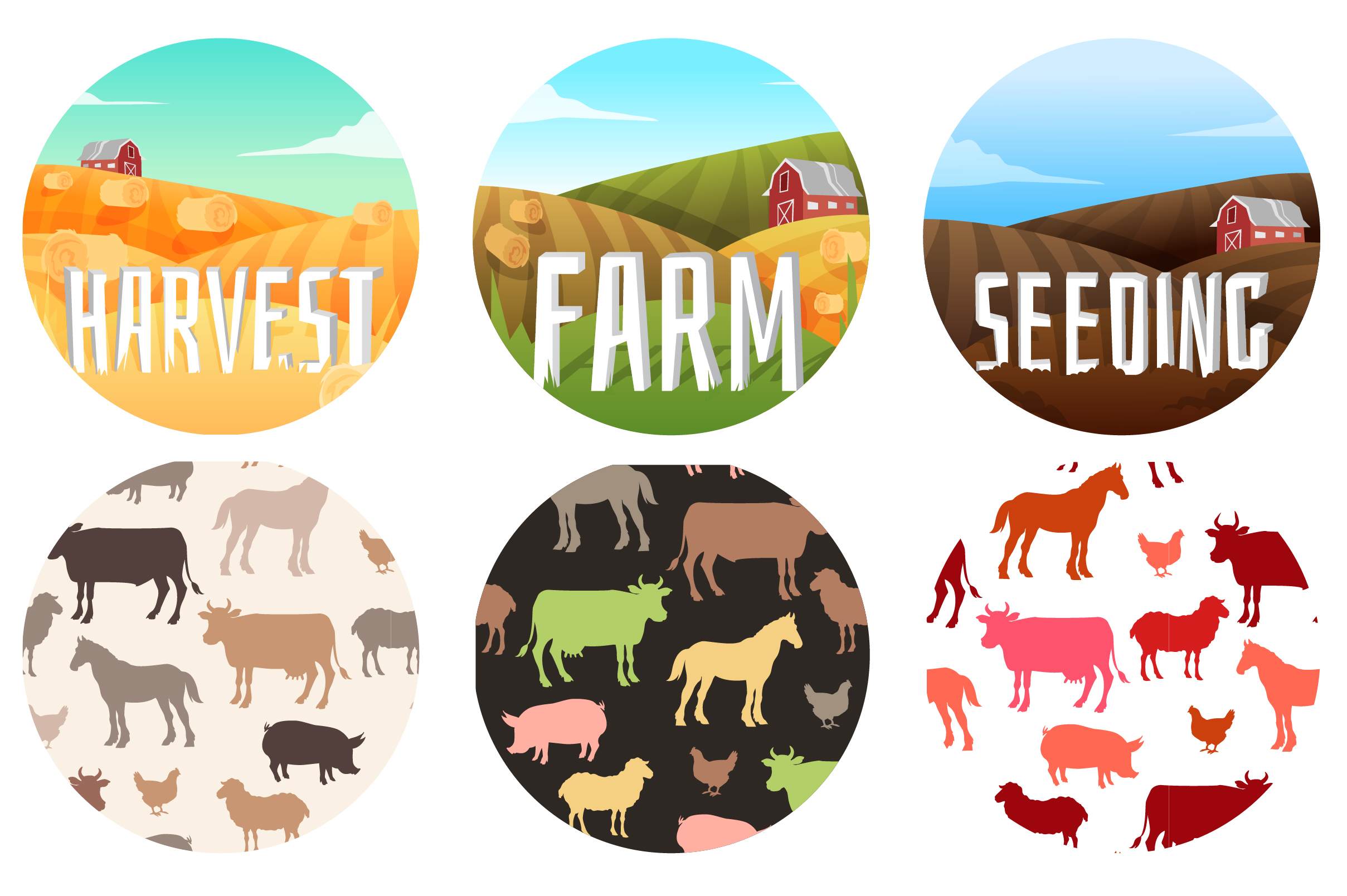 Vector Farm set of animals and landscapes + bonus patterns example image 5