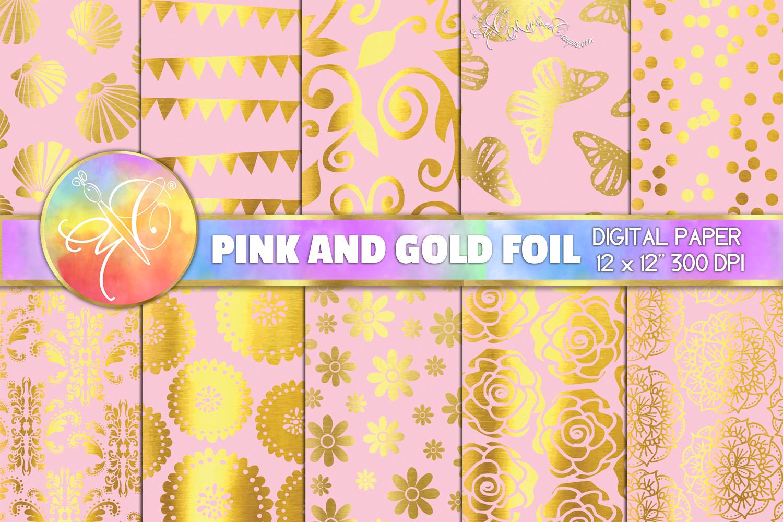 Pink and Gold Foil Digital Paper, Digital Background example image 1