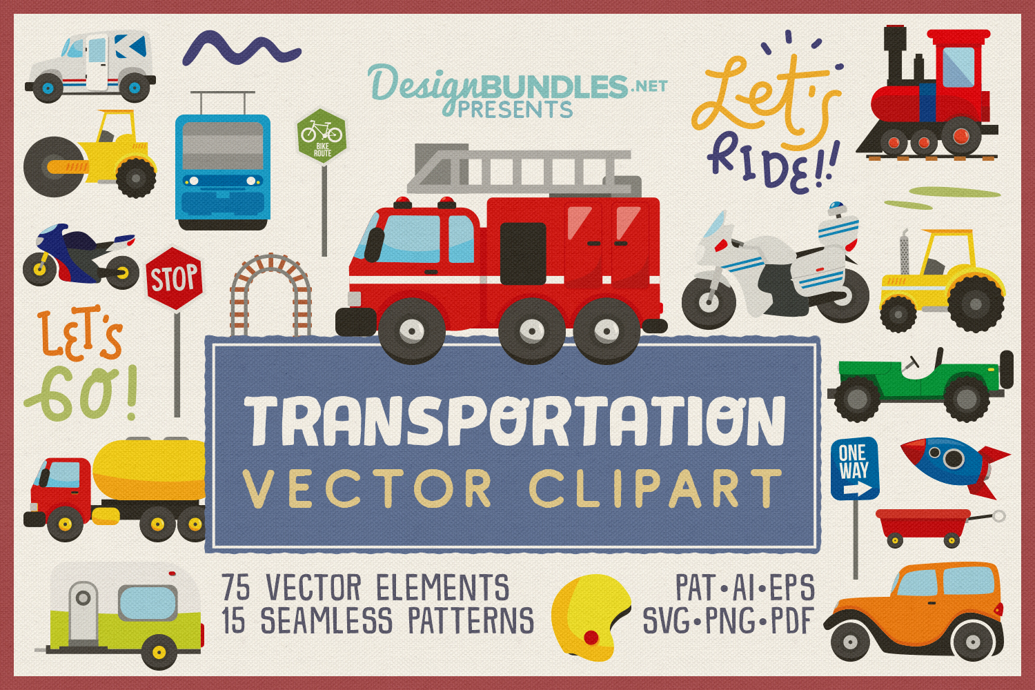 75 Transportation Vector Clipart & Seamless Patterns example image 1
