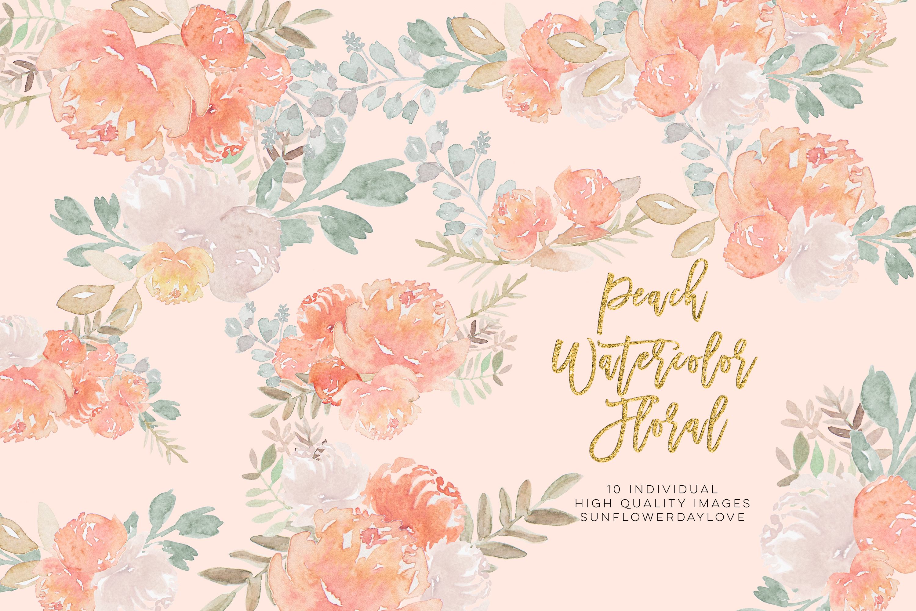 Peony Watercolor Clipart, pastel floral Watercolor Clipart, example image 5