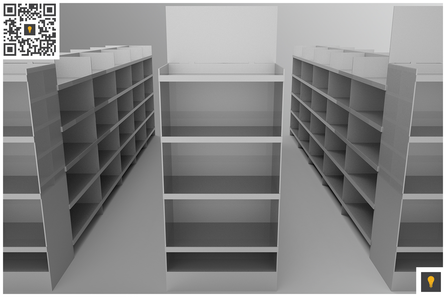 Aisle with Gondola Store 3D Render example image 11