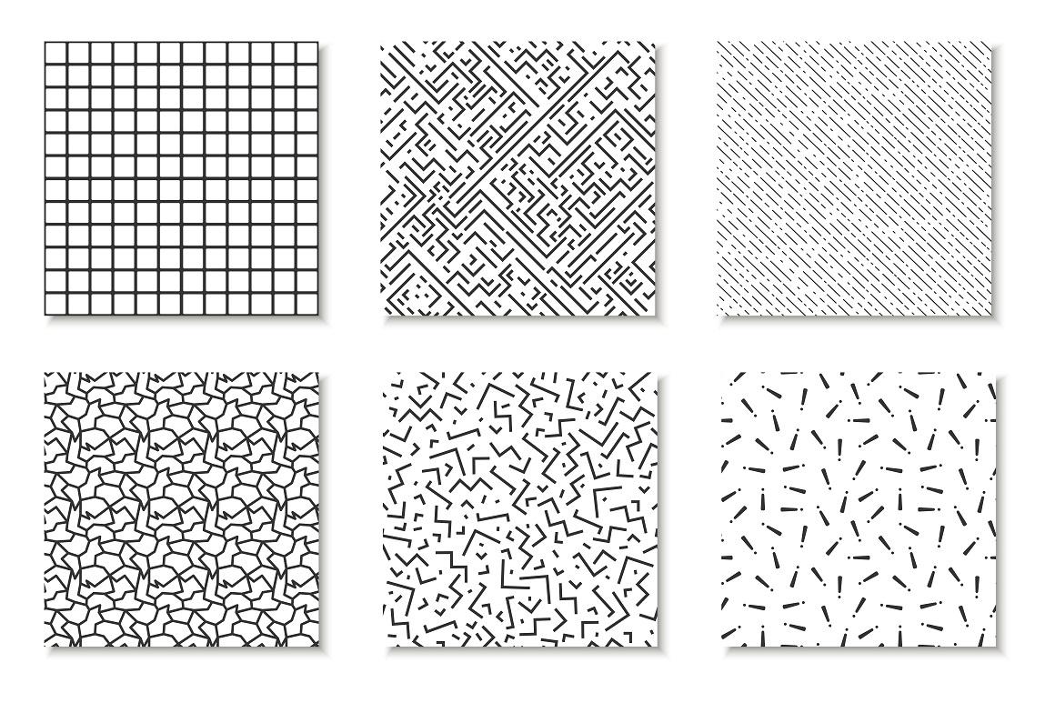 Bundle of Memphis seamless patterns example image 3