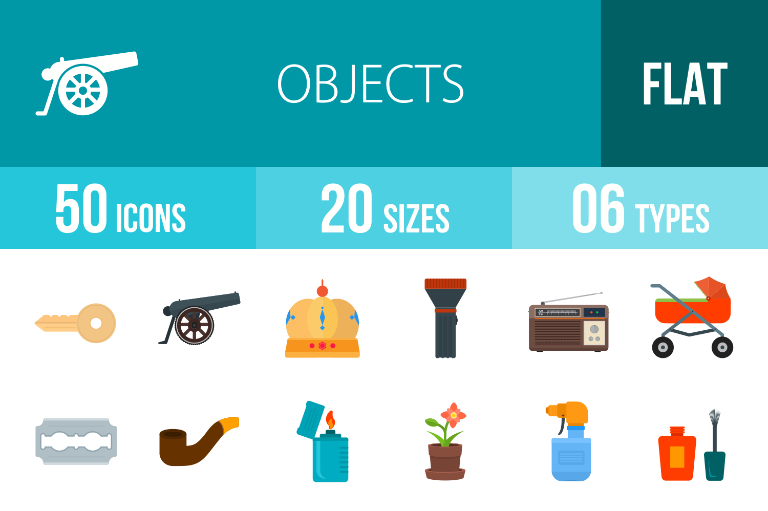 50 Objects Flat Multicolor Icons example image 1