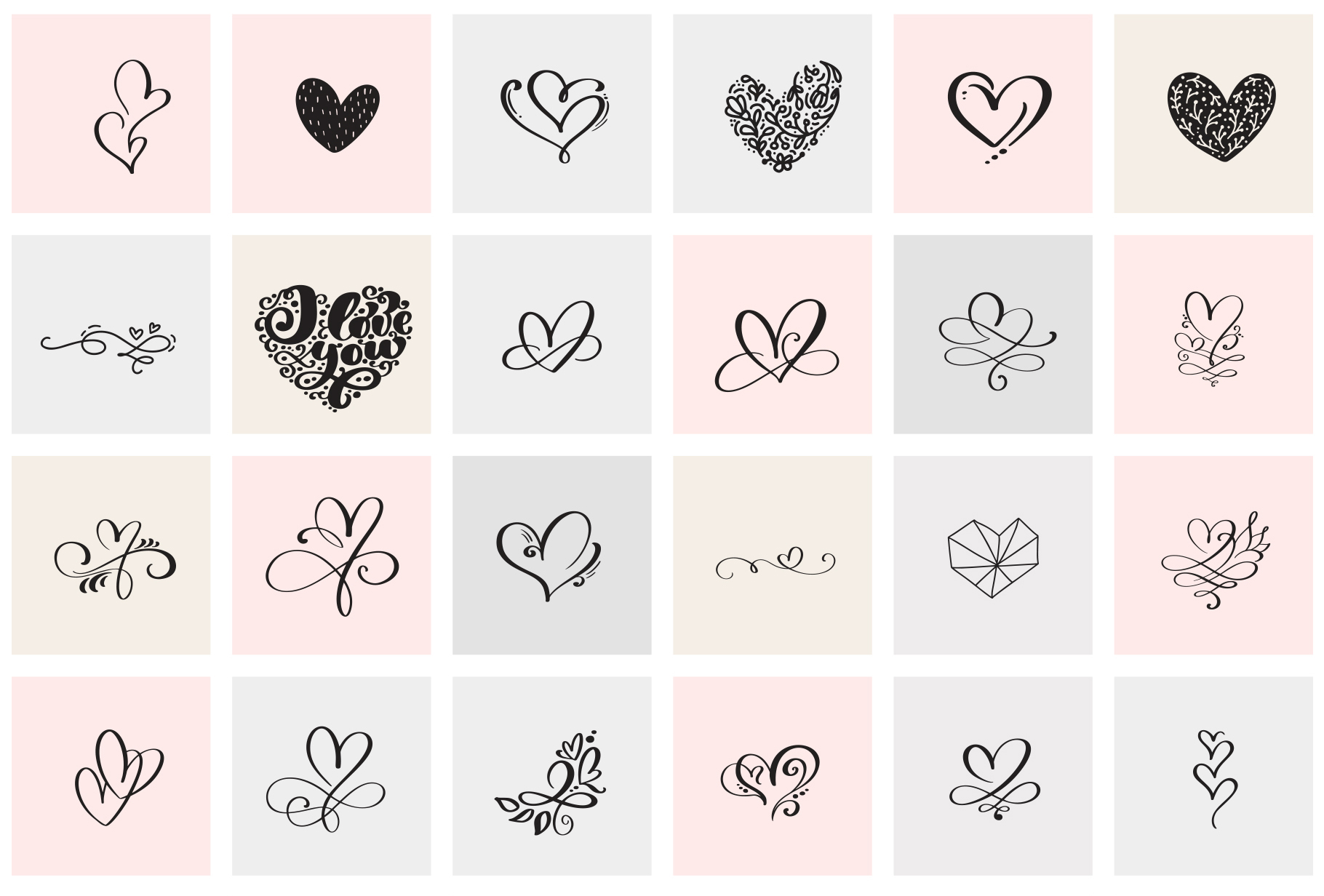 Valentine vector hand draw hearts SVG example image 8