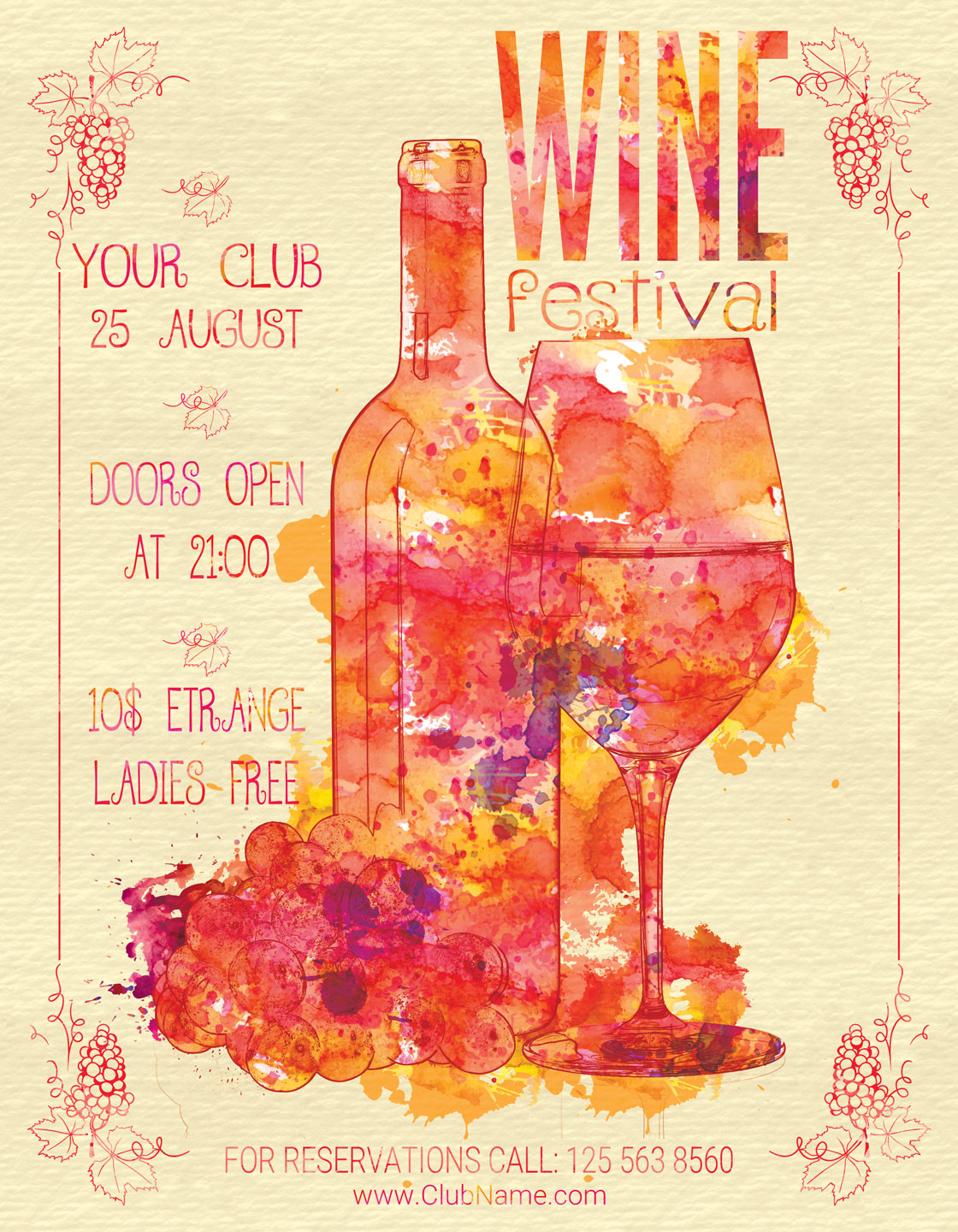 Wine Festival Flyer Poster Vintage example image 2