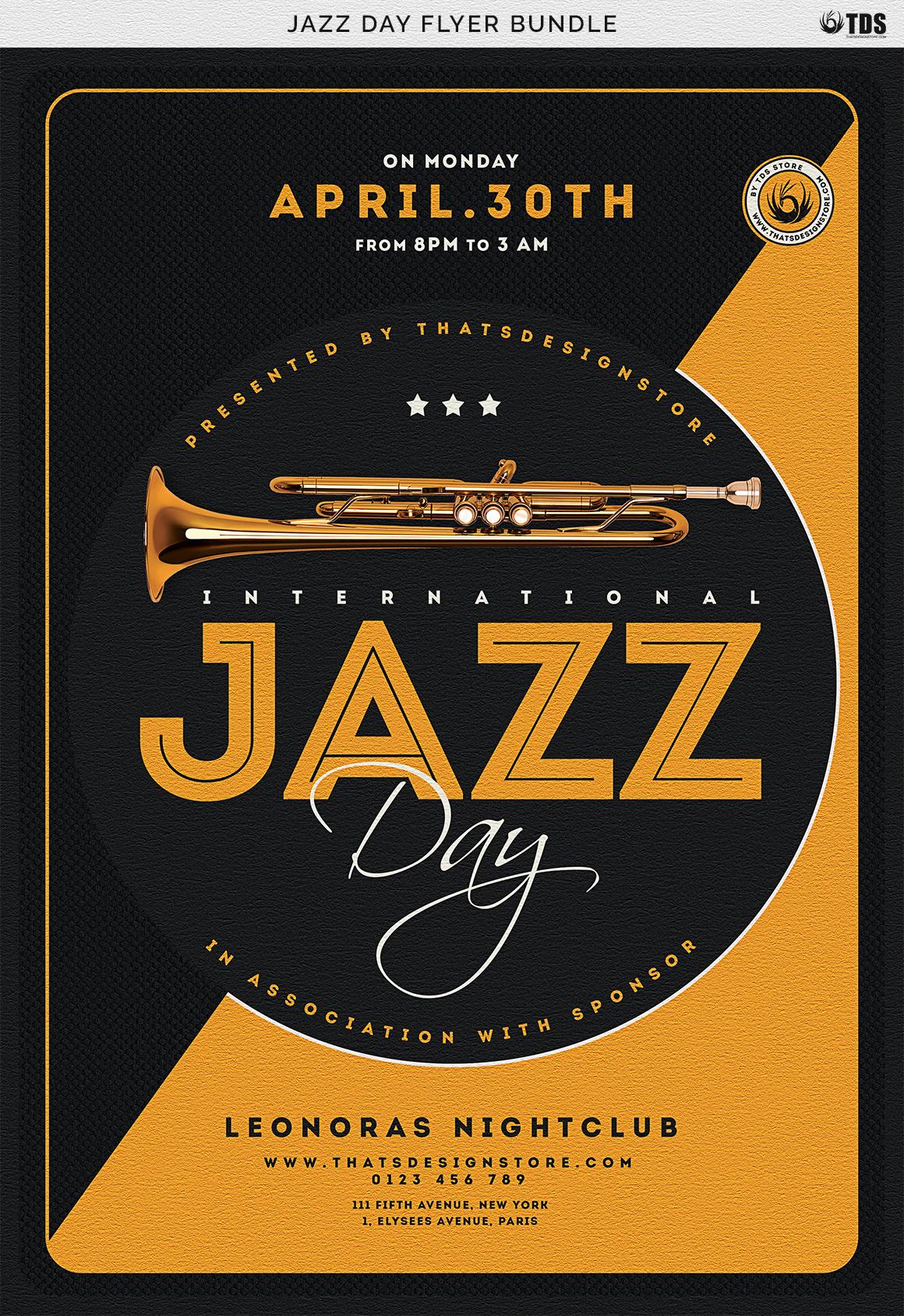 Jazz Day Flyer Bundle example image 11