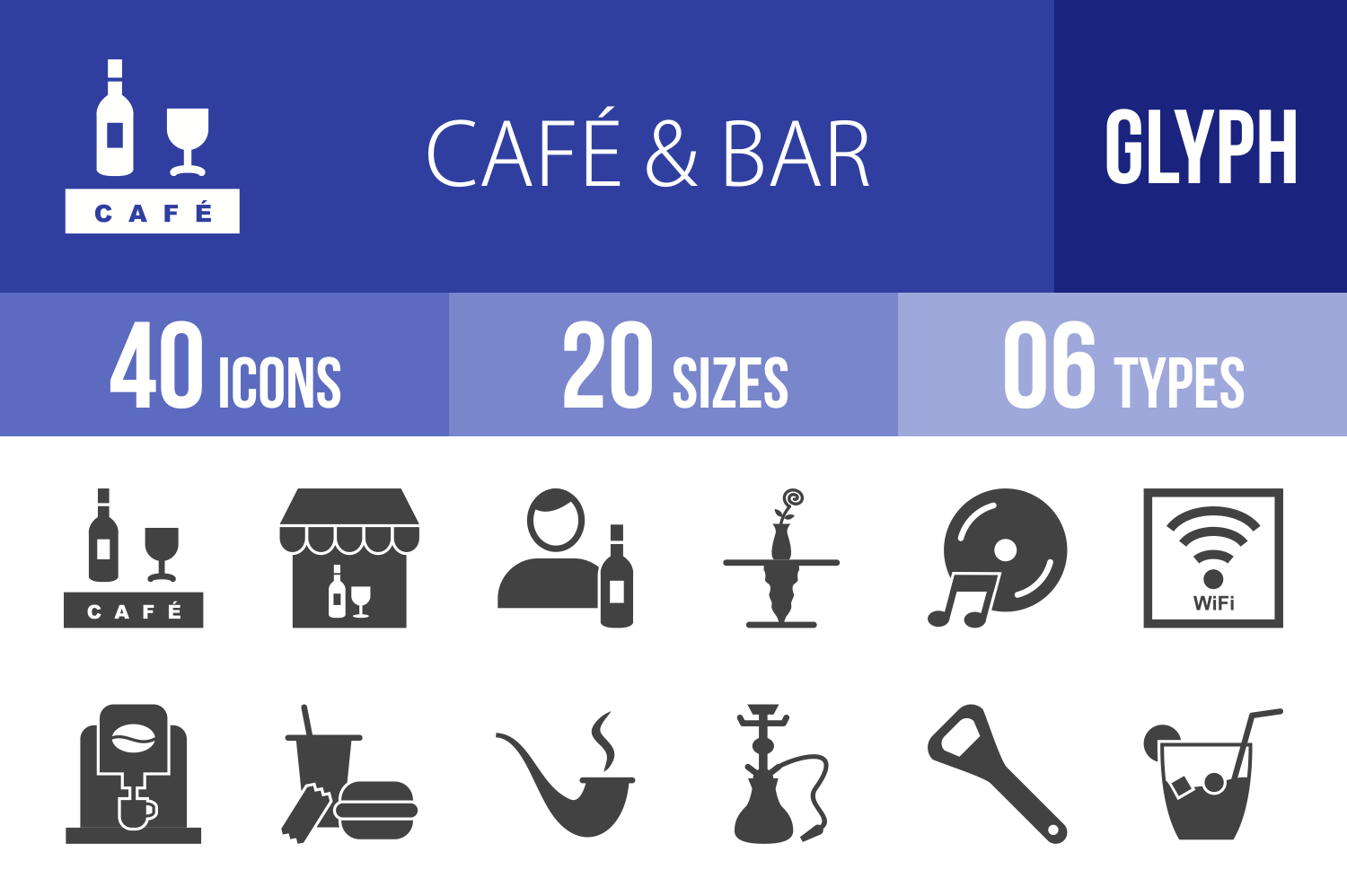 40 Cafe & Bar Glyph Icons example image 1