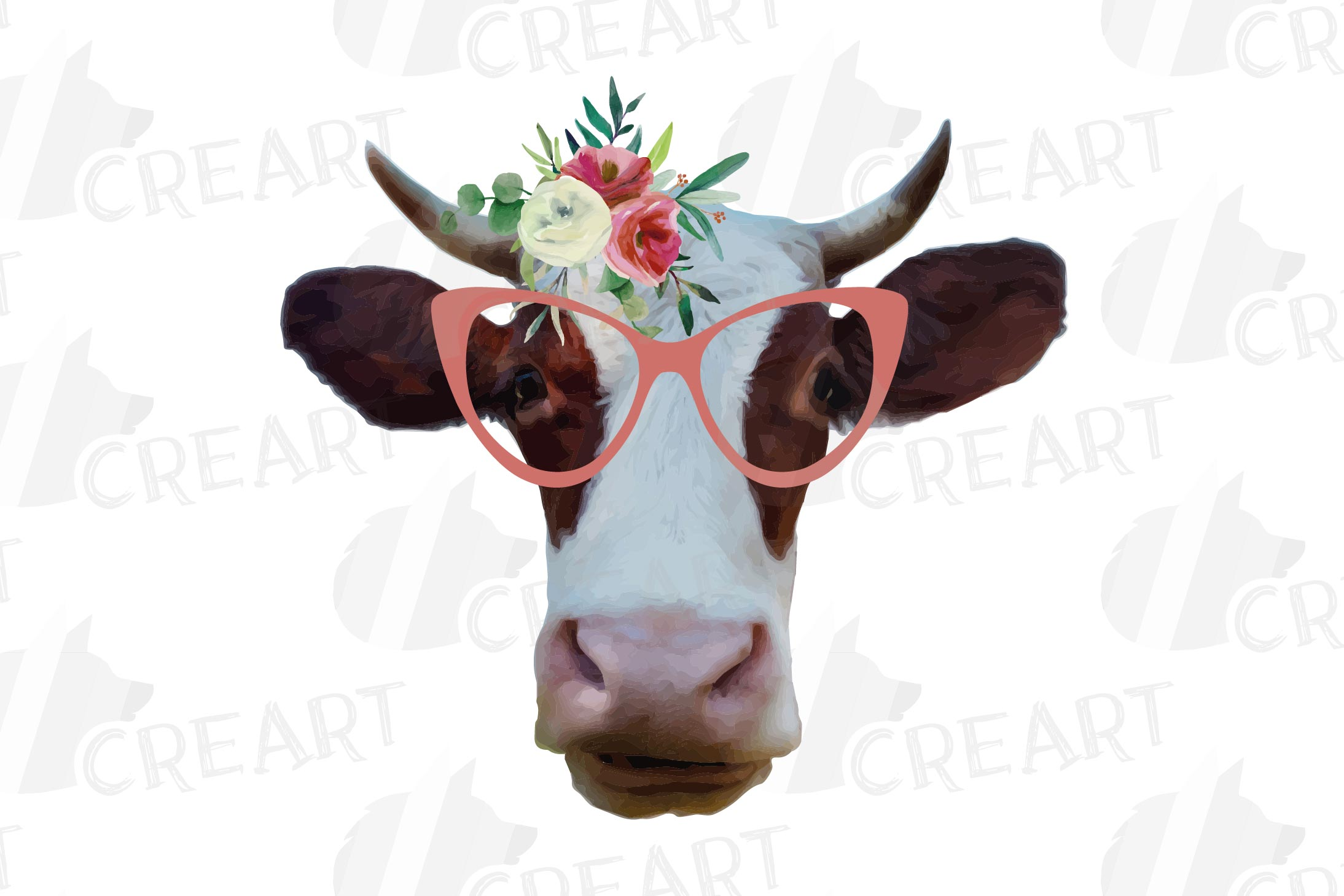 Cows with floral crown clip art. Not today heifer graphic example image 4