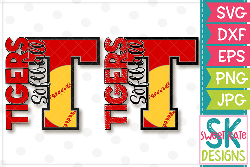 T Tigers Softball SVG DXF EPS PNG JPG example image 1