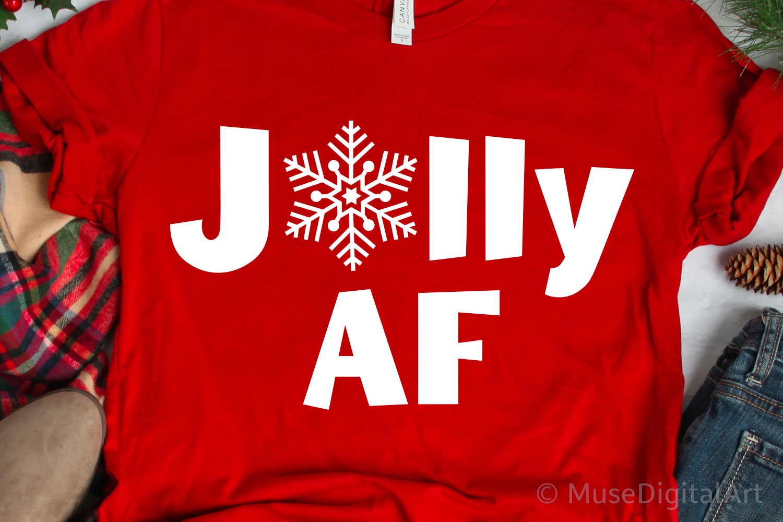 Funny Christmas Svg, Jolly AF, Merry AF, Adult Christmas Svg example image 1
