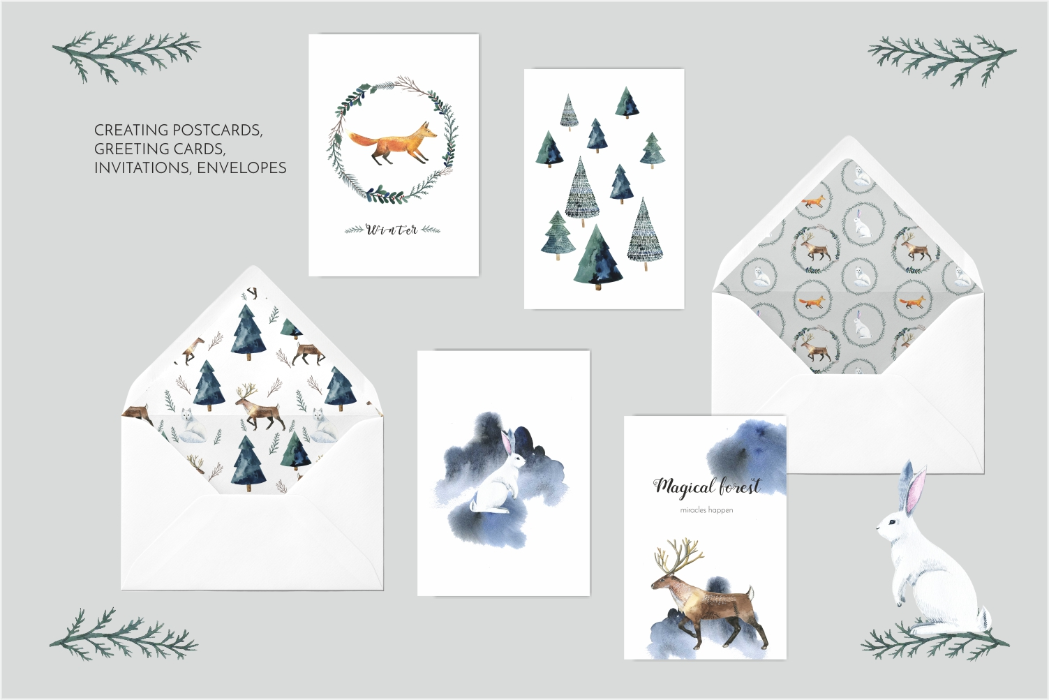 Watercolor animal forest - watercolor set example image 4