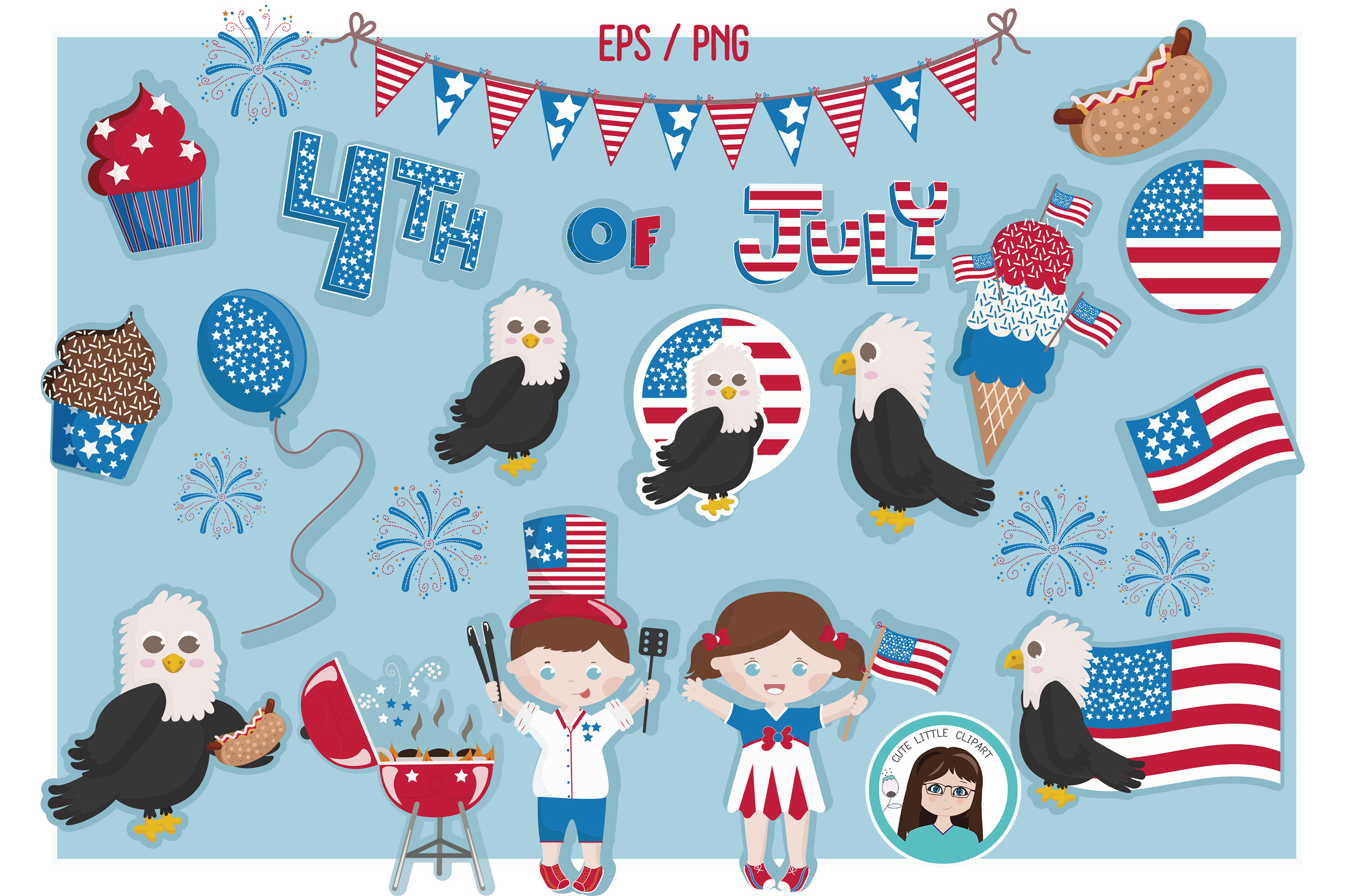 Fourth of July vector set example image 1