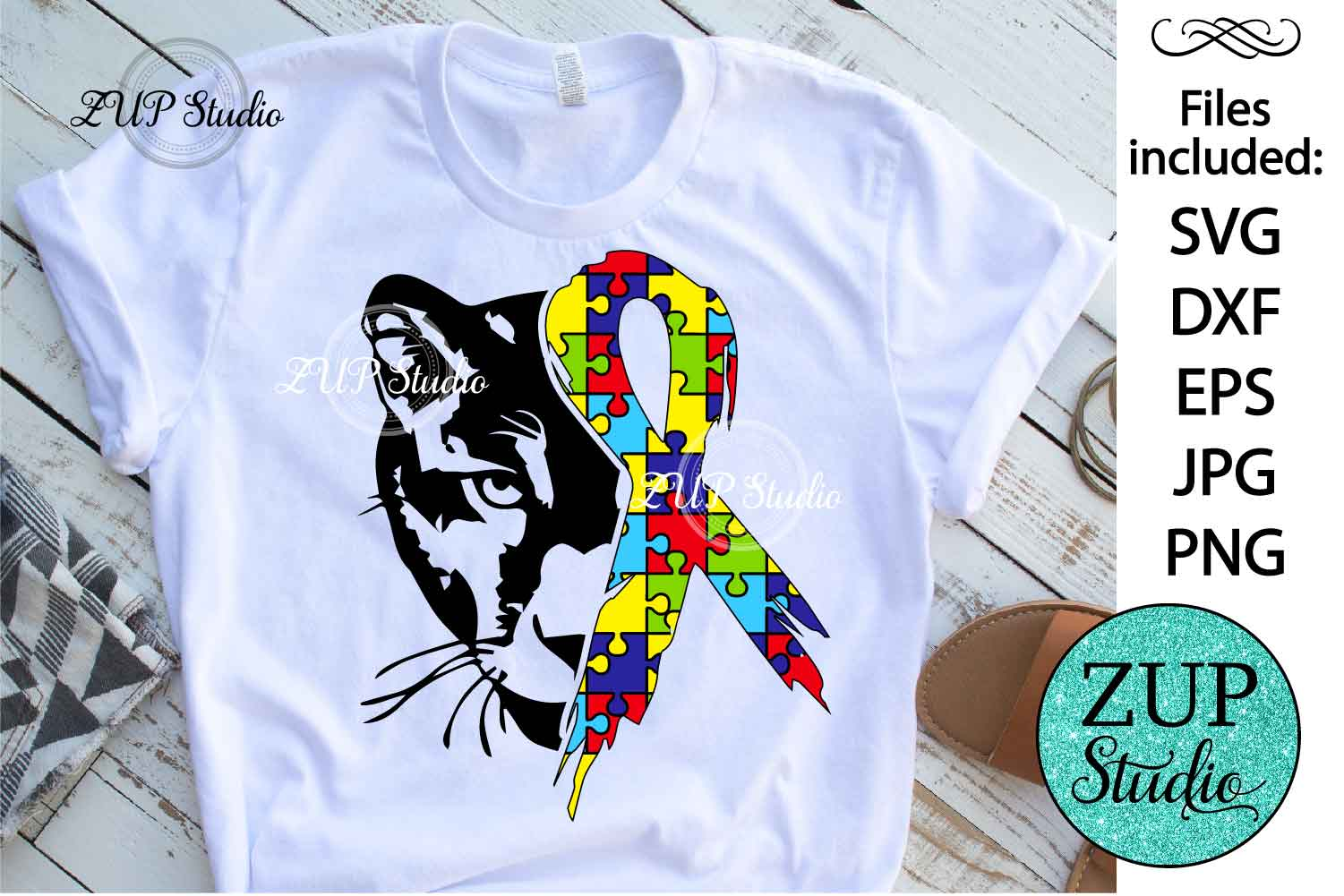 Panther with Autism Ribbon svg design 464 example image 1