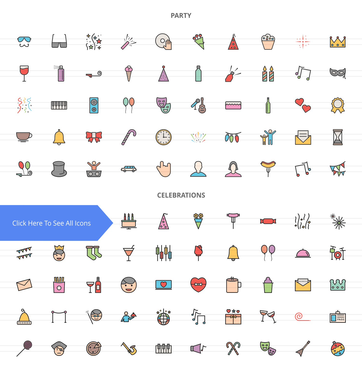 100 Party Filled Line Icons example image 2