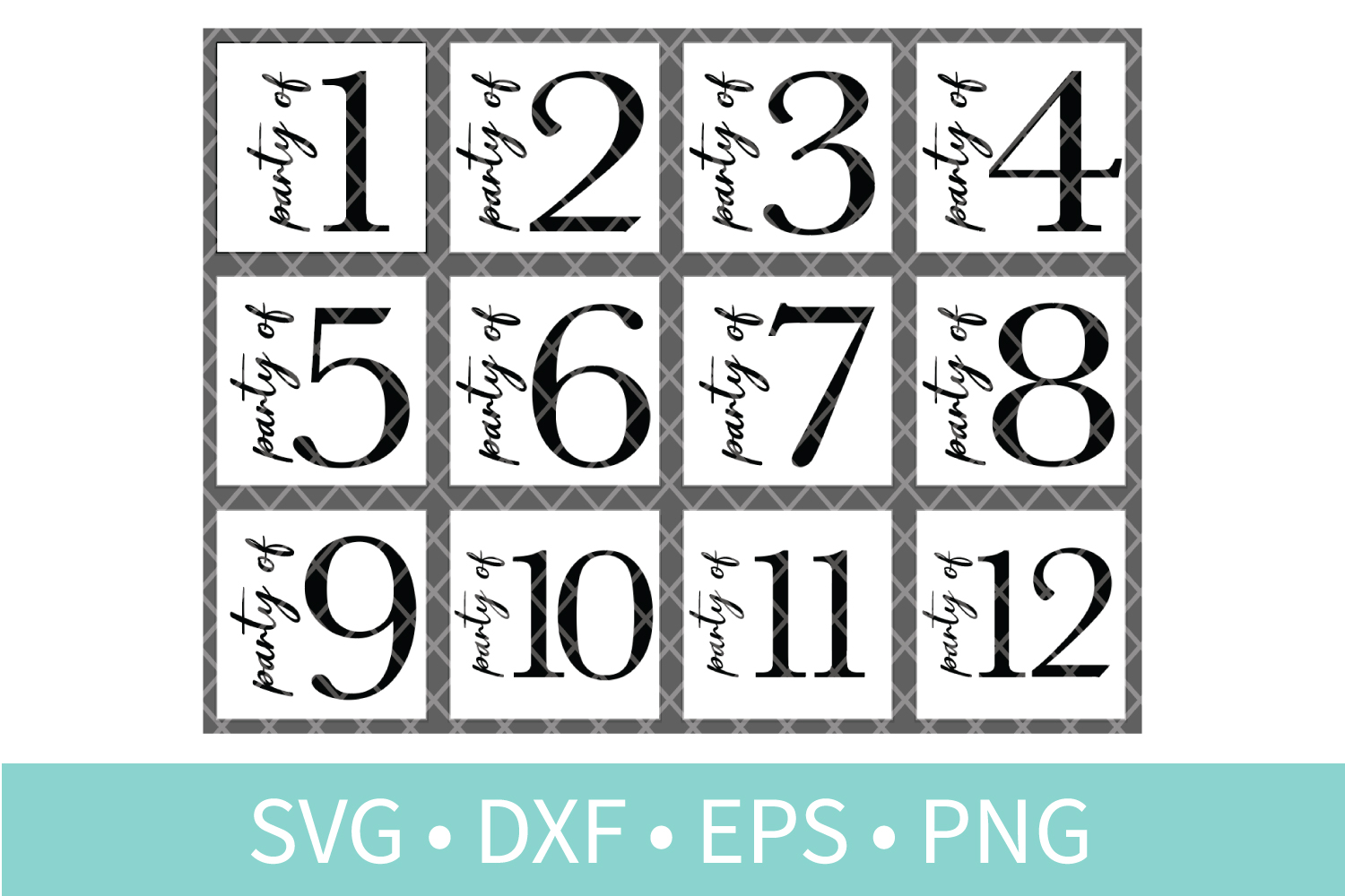 Party of Family Sign SVG DXF EPS PNG Clipart Cut File example image 1