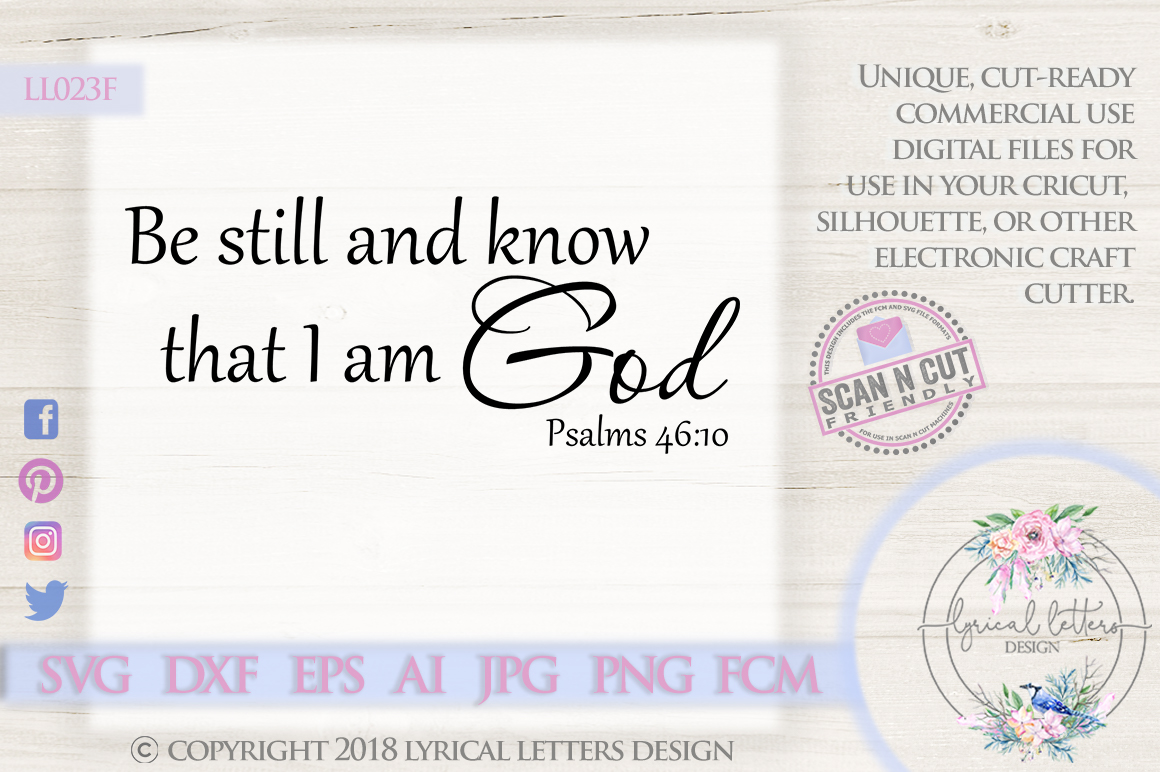 Be Still and Know Psalm 46 SVG DXF Cut File LL023F example image 1