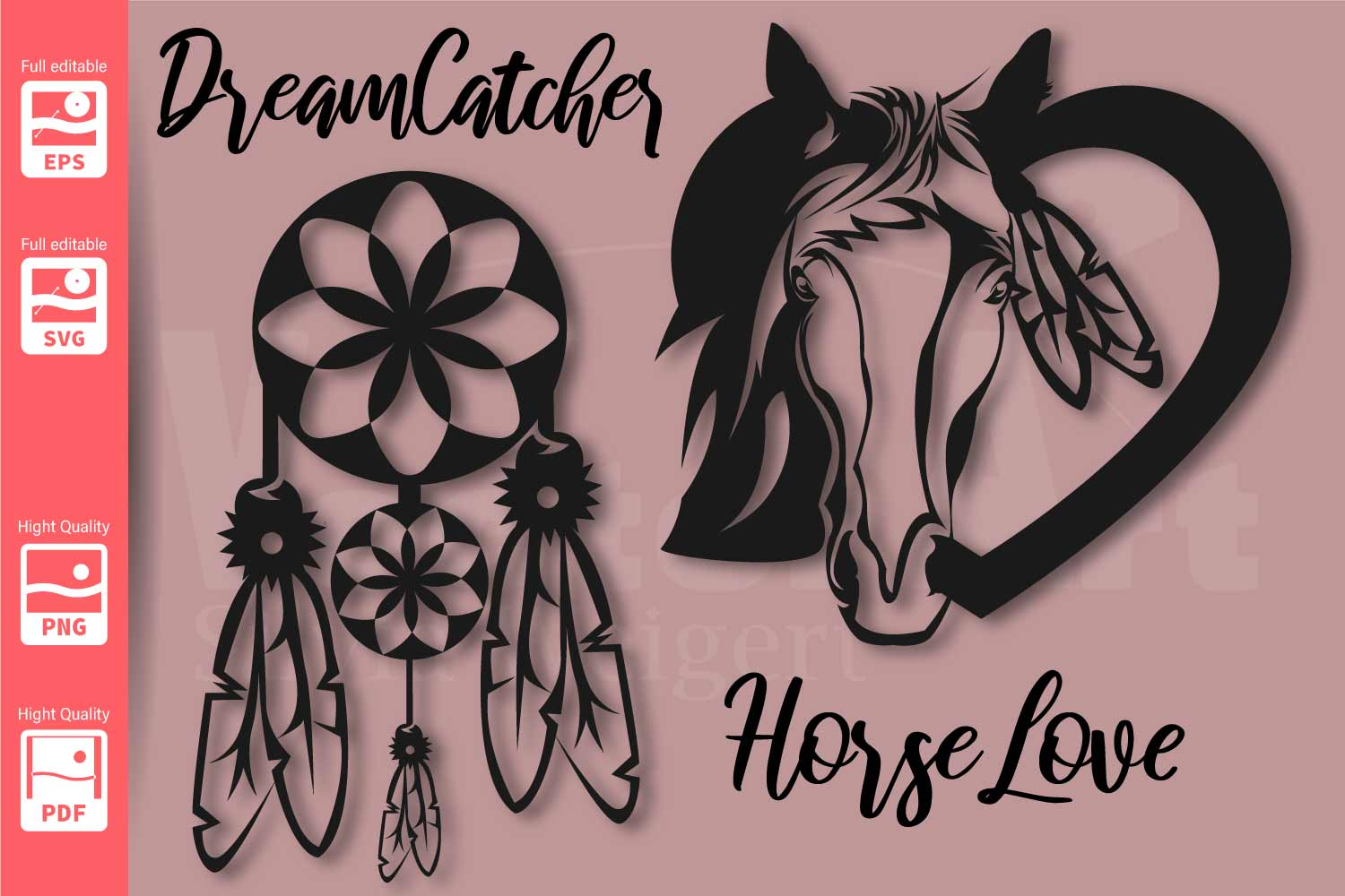 Dreamcatcher and Horse in a Heart - SVG - example image 2