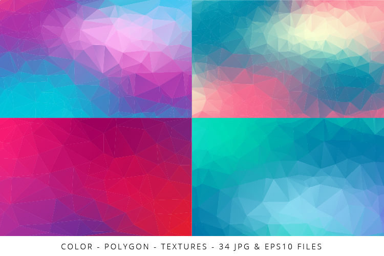 Colorful Low Poly Geometric Digital Papers Eps10 and JPG example image 2
