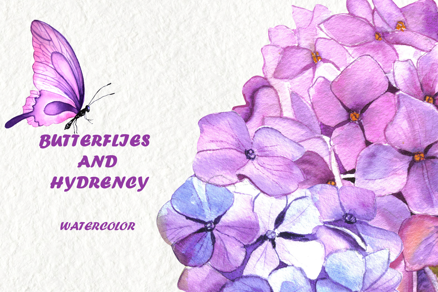 Watercolor clipart of hydrangea, butterflies and teddy toys example image 9
