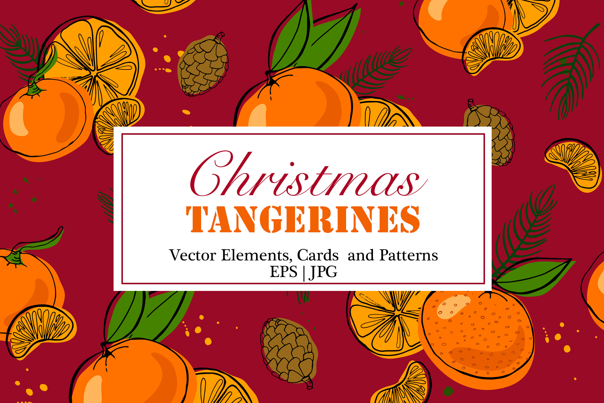 Tangerines Christmas Vector Clipart example image 1