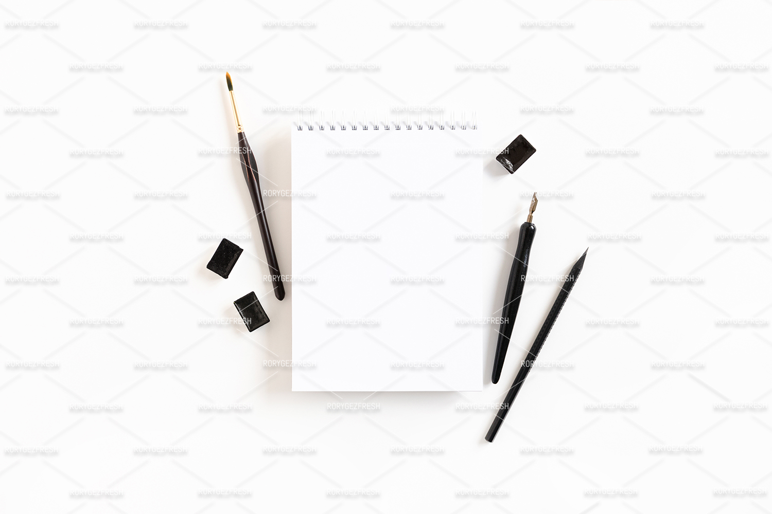 Open notepad mock up with stationery example image 1