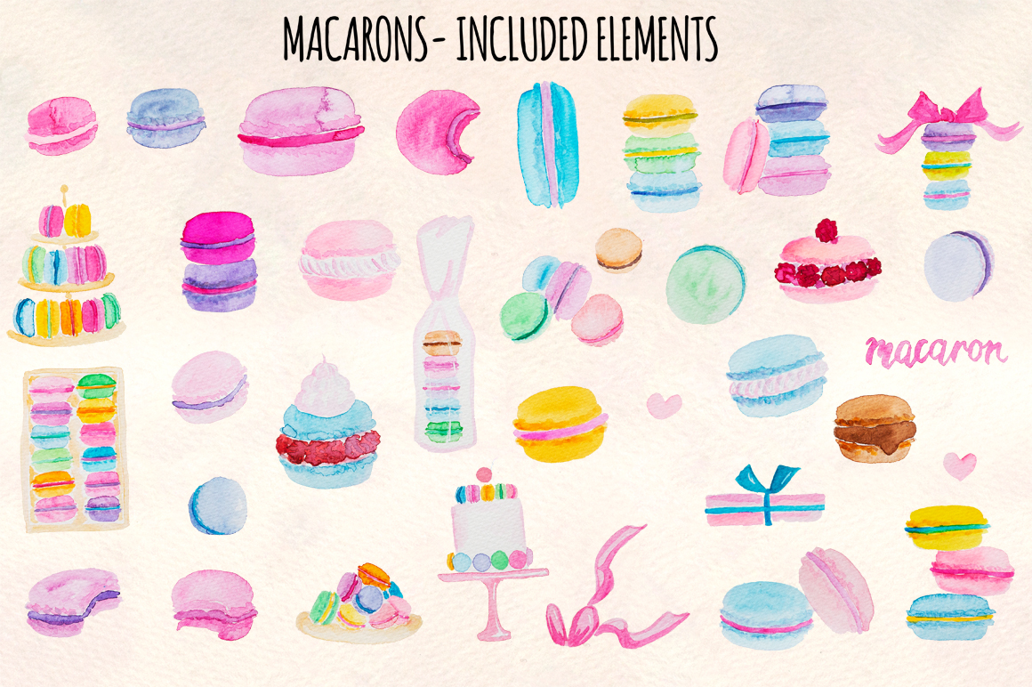 35 Pretty French Macarons Watercolor Graphic Elements example image 2