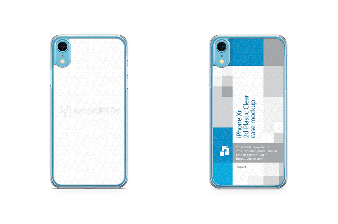 Apple iPhone XR 2d PC Clear Case Design Mockup 2018 example image 2