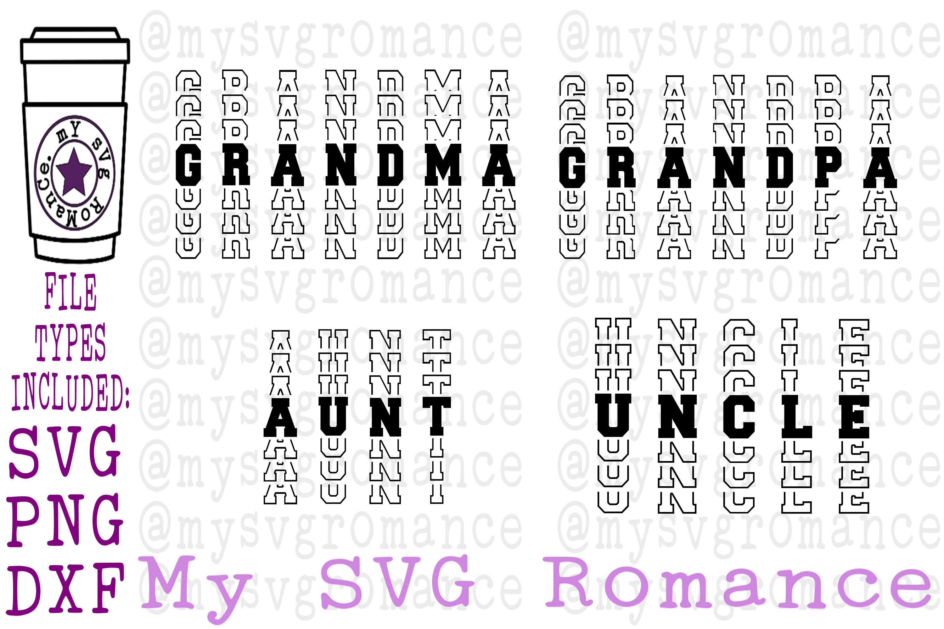 Grandpa Grandma Aunt Uncle Word Mirror SVG PNG DXF example image 1