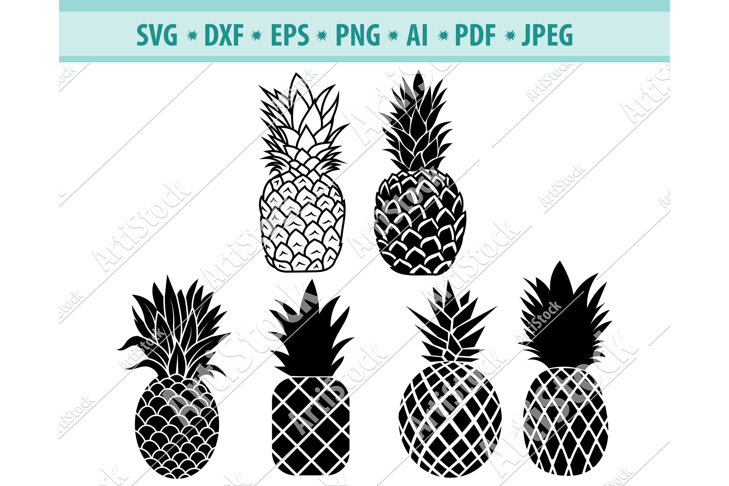 Pineapple SVG, Tropical Svg, Exotic fruit SVG, Png, Eps, Dxf example image 1