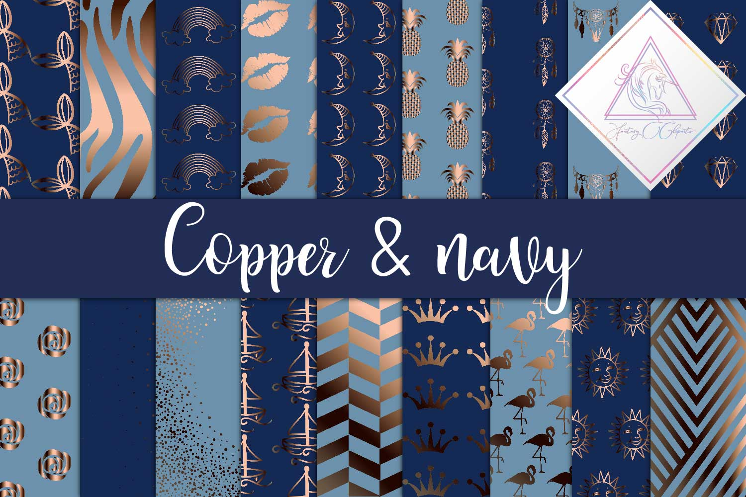 Copper & Navy Digital Paper example image 1