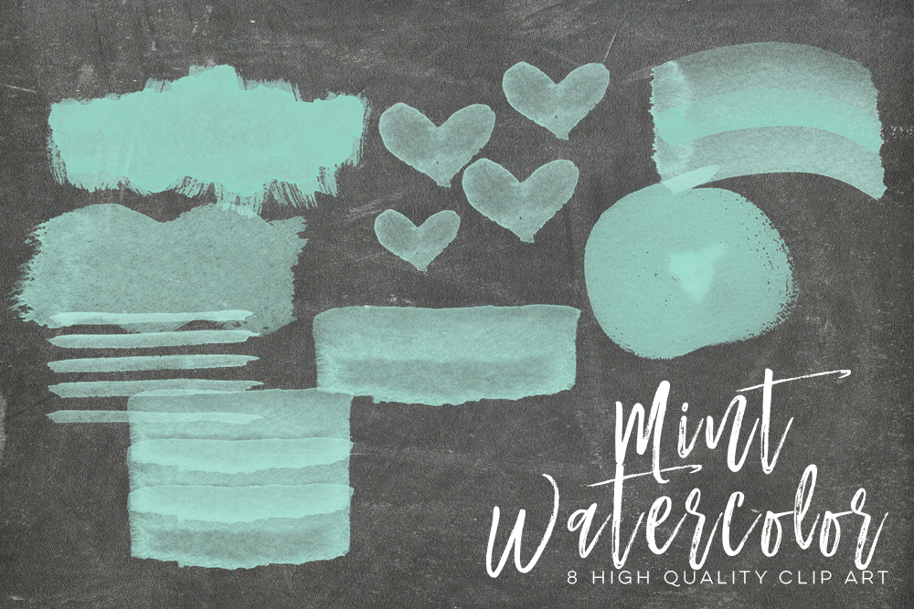 mint watercolor strokes, Green Mint Watercolor Strokes, Wall Art Print, Watercolor clipart strokes banners, Social media Splashes Clipart example image 2