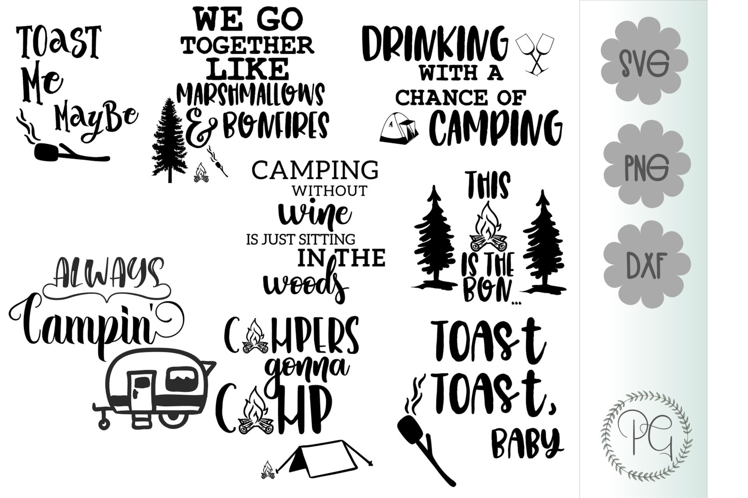 Camping Bundle SVG PNG DXF Eight Files Available example image 1