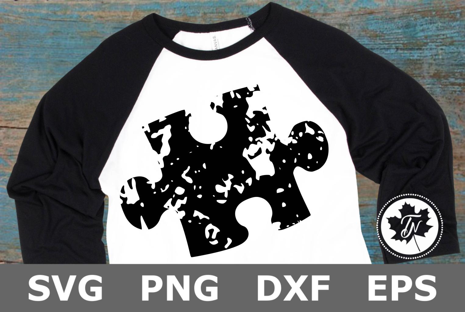 Grunge Puzzle Piece - An Autism Awareness SVG Cut File example image 1