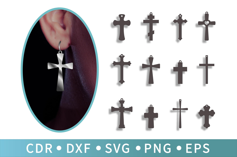12 Easter SVG, Cross Earrings, Wedding cross, Men necklace example image 1