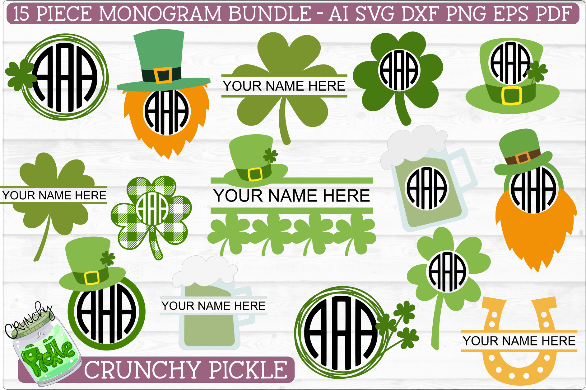 St Paddy Monograms - St Patrick's Day SVG File Bundle example image 1