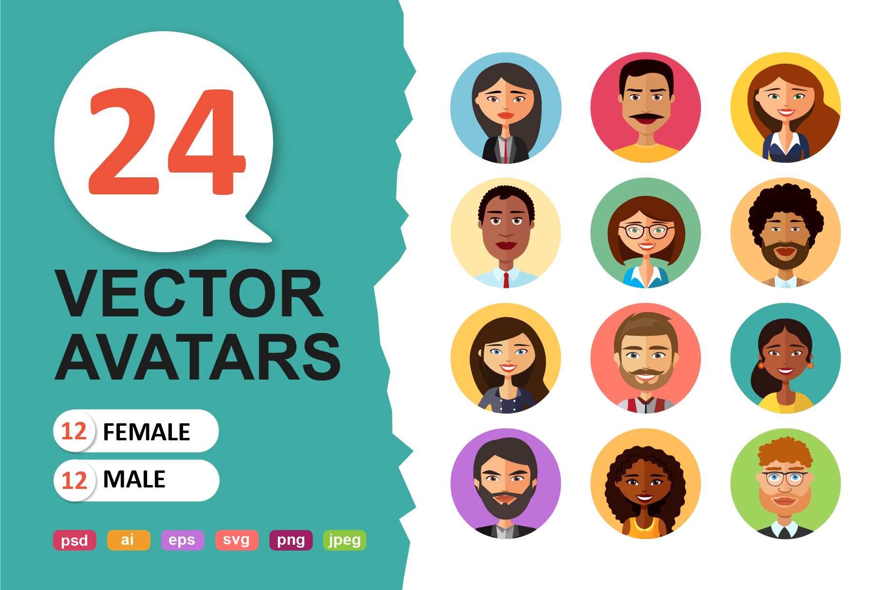 Vector avatars cartoon collection example image 1