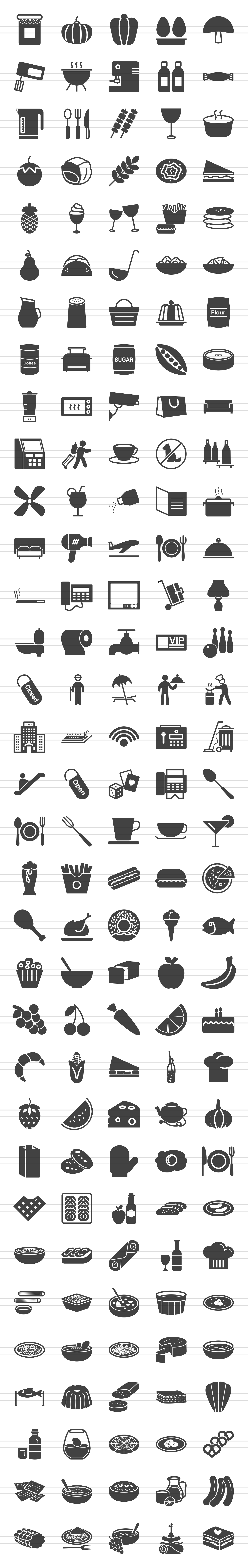 166 Restaurant & Food Glyph Icons example image 2