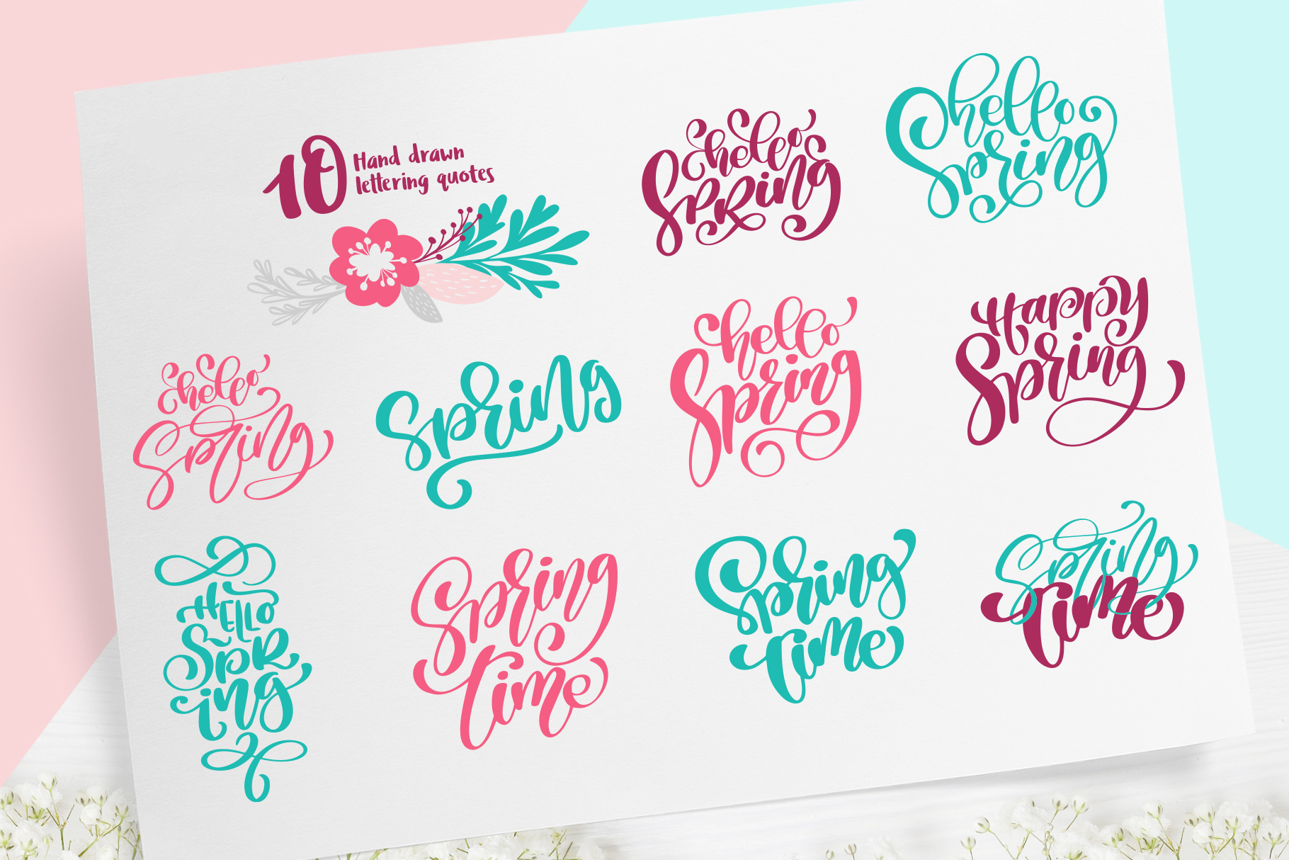 Spring vector lettering & floral greeting card example image 3