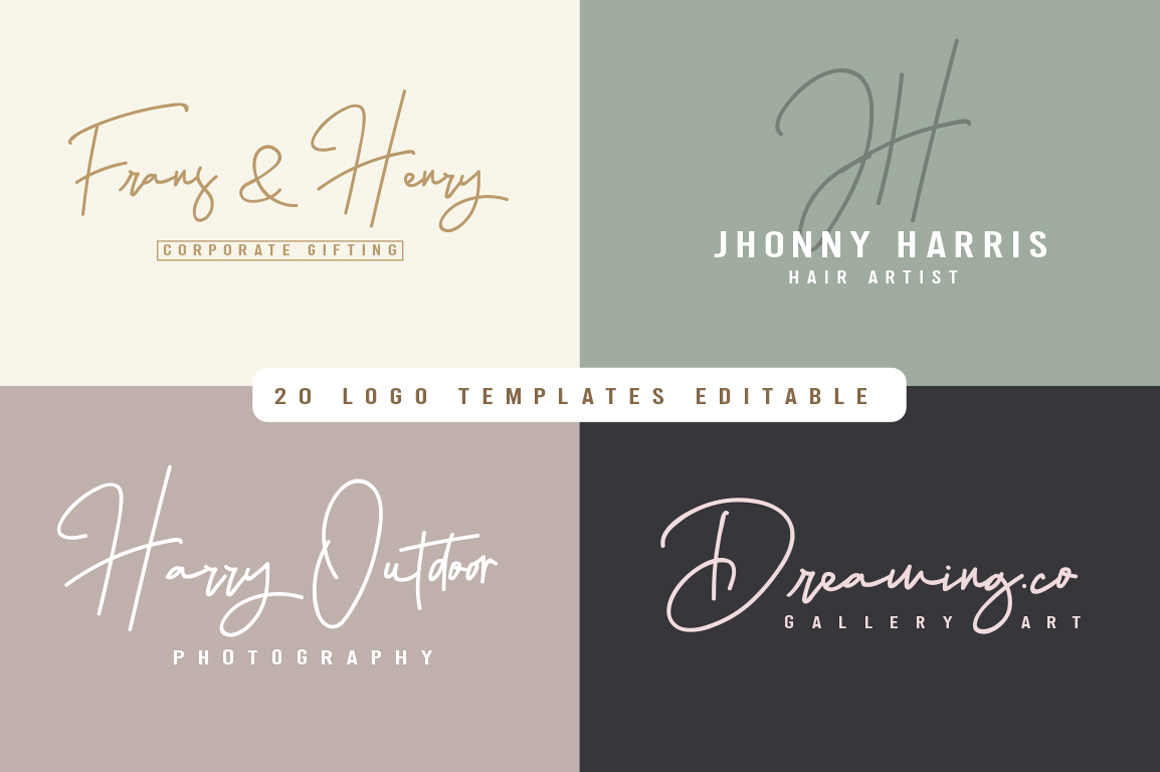 Hellena Jeslyn Signature Font Duo Free Logo example image 6