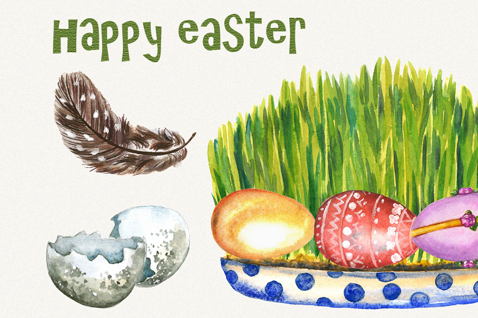 Easter Clipart, watercolor easter clipart, easter egg example image 4
